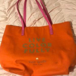 Kate Spade Live Colorfully Orange & Pink Tote Bag